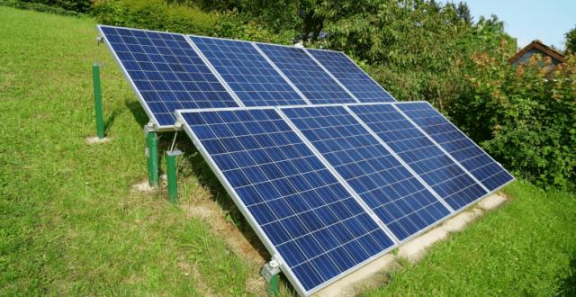 panneaux solaires dans jardin