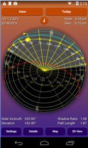 application panneaux solaires : trajectoire du soleil